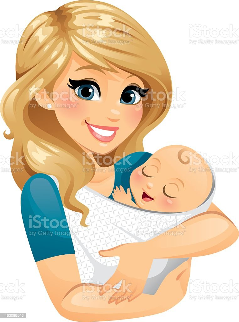 Mom Holding Baby Mom holding baby in a sling/blanket. pattern on blanket fabric is removable.  Adult stock vector