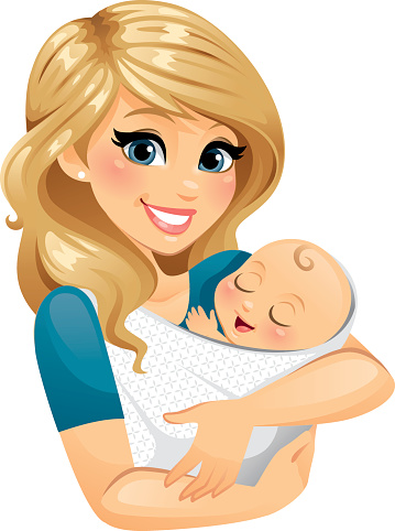 Mom Holding Baby Stock Illustration - Download Image Now