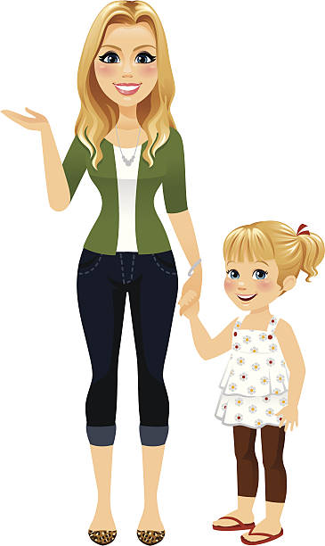 Mom Holding Hands With Daughter vector art illustration