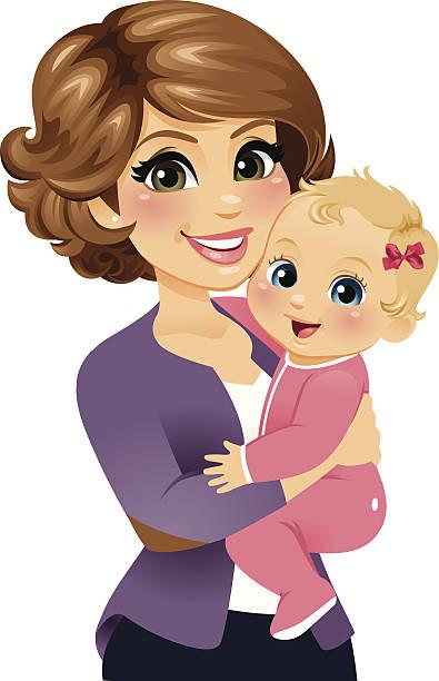 Mom Holding Her Baby Girl vector art illustration