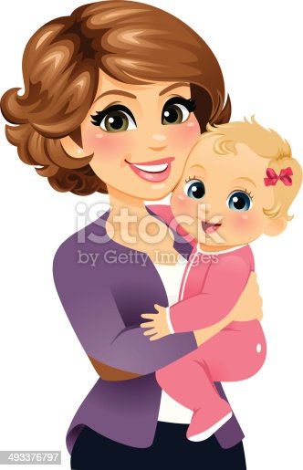 Mom Holding Her Baby Girl Stock Vector Art & More Images ...
