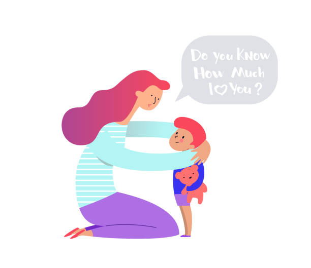 bildbanksillustrationer, clip art samt tecknat material och ikoner med mamma kramar och gosa hennes pojke eller flicka som innehar nalle björn och omvårdnad honom. mor omfamna nyfödda son och uttrycker kärlek och omsorg. modern illustration kan användas som logo typ eller symbol. vektor - parent talking to child