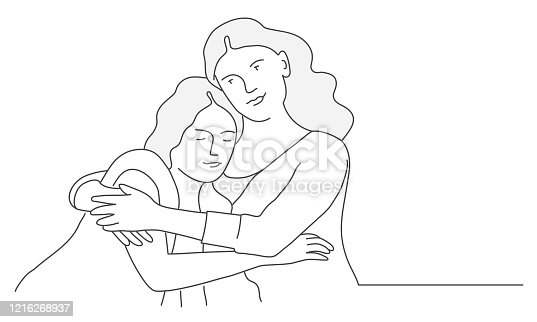 istock Mom hugs daughter, family time. 1216268937