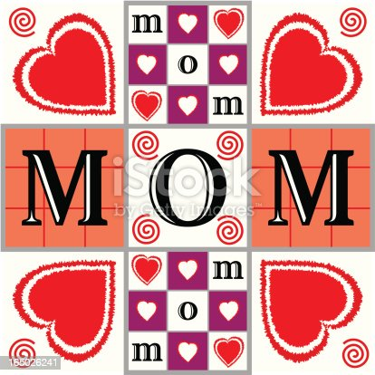 "This ""mom"" illustration was created with thoughts of Mother's Day. Tic tac toe and checkerboard patterns are used to show combinations of hearts, swirls, and ""mom"" text. This square-shaped design primarily uses red, purple, and peach colors on a white background."