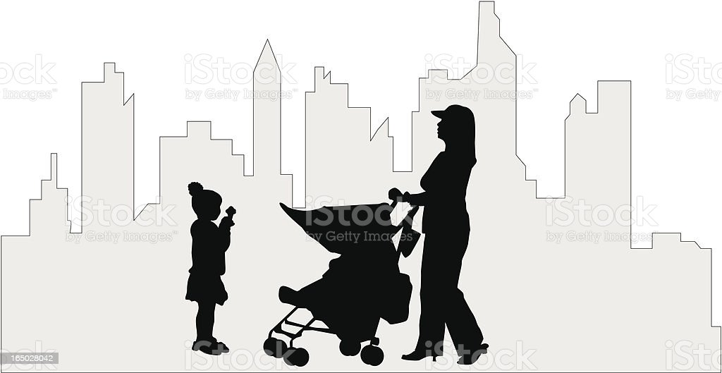 Mom in the City ( Vector ) royalty-free stock vector art