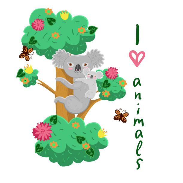 Mom koala with a baby on a tree. Vector graphics. Mom koala with a baby on a tree. Vector image baby sloth stock illustrations