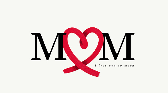 Mom letters with abstract red heart ribbon made from brush stroke. Brush style, icon design. Happy Mother's day. Love mom concept. Vector illustration. Isolated on white background.