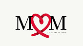 istock Mom letters with abstract red heart ribbon made from brush stroke. Brush style, icon design. Happy Mother's day. Love mom concept. Vector illustration. Isolated on white background. 1311595776