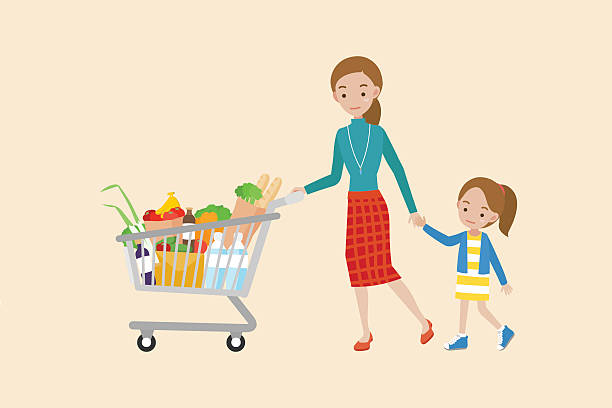 mom pushing a shopping cart. - family home stock illustrations