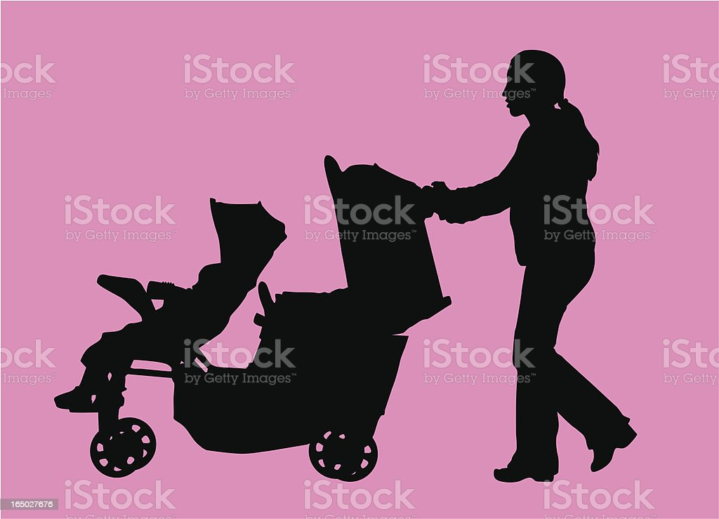Mom pushing double stroller  ( Vector ) royalty-free stock vector art