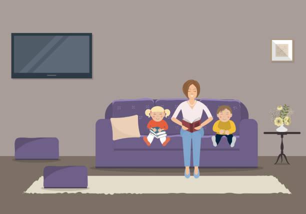 bildbanksillustrationer, clip art samt tecknat material och ikoner med mamma en bok till barn i vardagsrummet - cosy pillows mother child