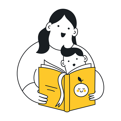 Mom reading a book to her son