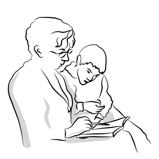 ilustraciones, imágenes clip art, dibujos animados e iconos de stock de mamá leyendo a su hijo - nieto
