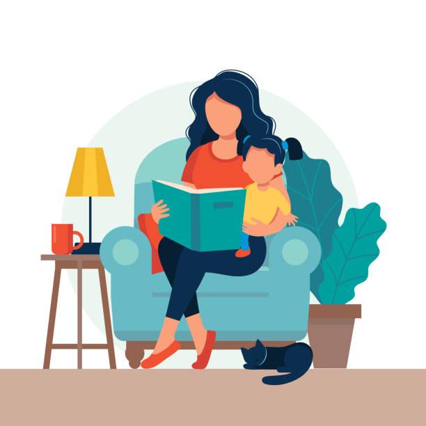 ilustraciones, imágenes clip art, dibujos animados e iconos de stock de mamá leyendo para niño. familia sentada en la silla con libro. ilustración vectorial linda en estilo plano - hija