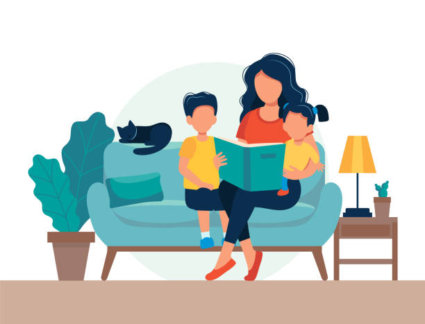 mom reading for kids. family sitting on the sofa with book. cute vector illustration in flat style - bedtime story stock illustrations