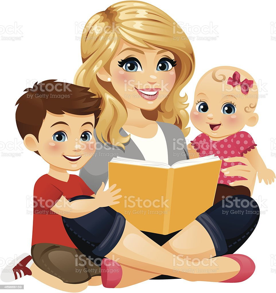 Mom Reading With Children 2 A Mom/babysitter/nanny reading with two children.  12-17 Months stock vector