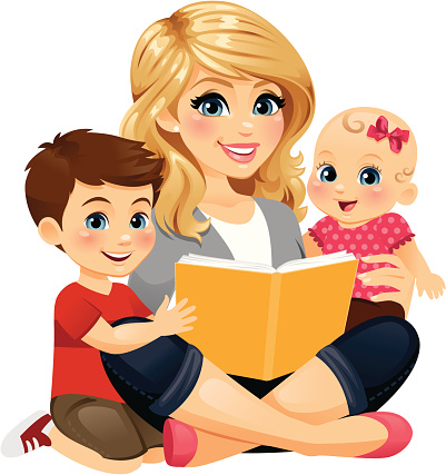 Mom Reading With Children 2 Stock Illustration - Download Image Now