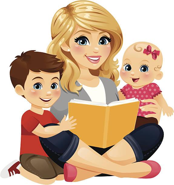 mom reading with children 2 - heyheydesigns stock illustrations