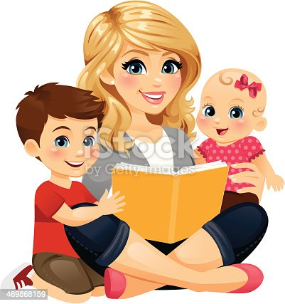 Mom Reading With Children 2 Stock Vector Art & More Images ...