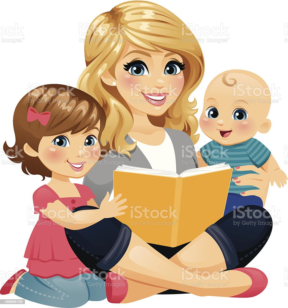 Mom Reading With Children A Mom/babysitter/nanny reading with two children. 12-17 Months stock vector