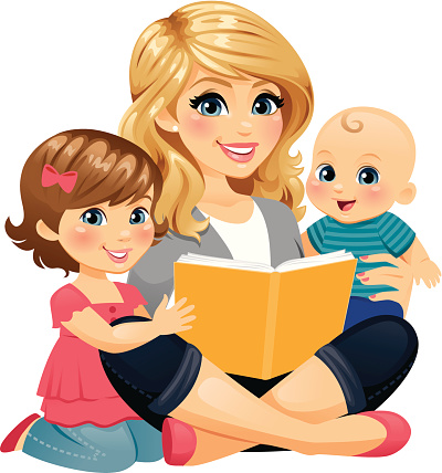 Mom Reading With Children Stock Illustration - Download Image Now