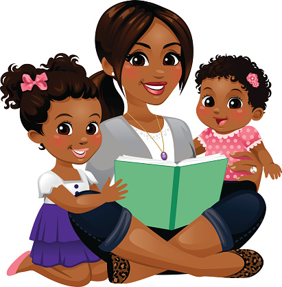 Mom Reading with Daughters clipart