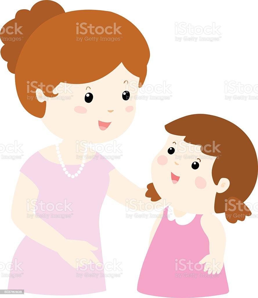 mom talk to her daughter gently cartoon vector vector art illustration