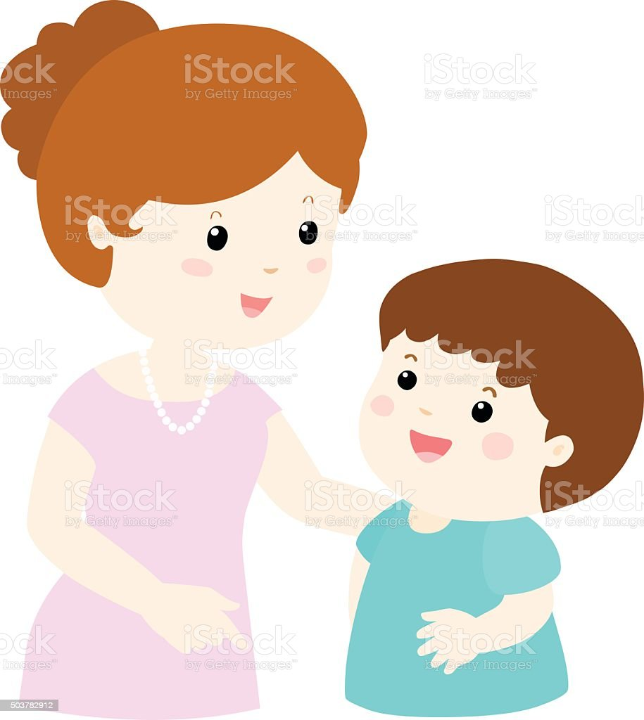 Ilustración De Mamá Hable Con Su Hijo Suavemente Dibujos Animados