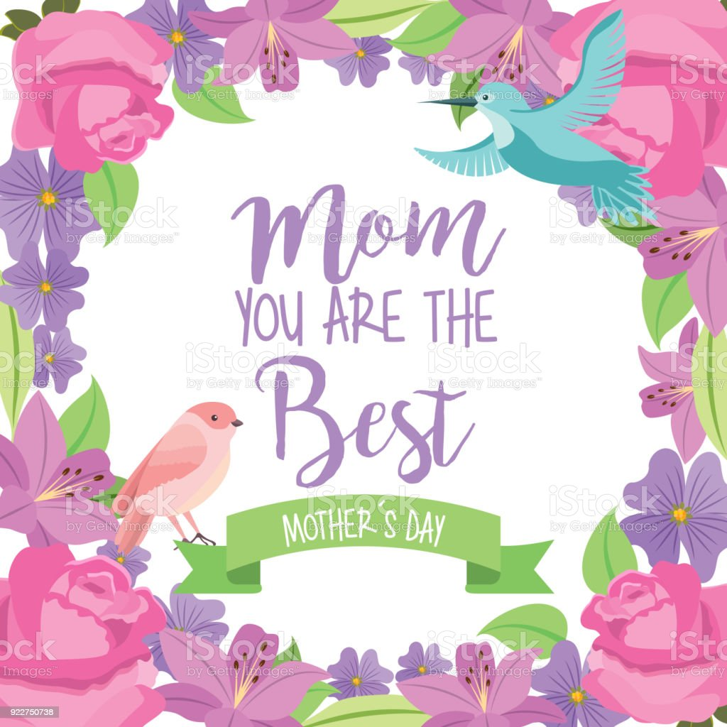 Mom The Best Mothers Day Bird Ribbon Flowers Frame Decoration Stock