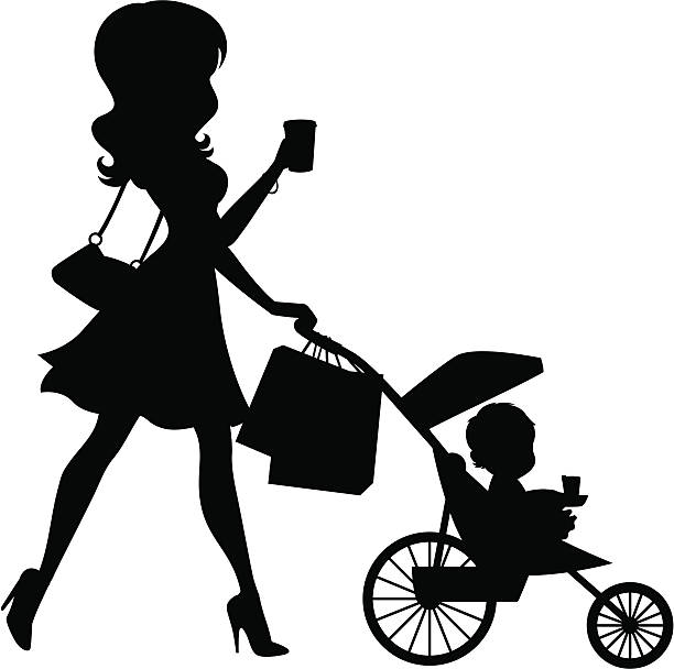 Mom Walking Baby In Stroller Silhouette The silhouette of a woman walking a baby in a stroller. Solid shapes: purse, woman, stroller/baby, shopping bags. These 4 elements can be separated from one another. heyheydesigns stock illustrations