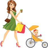 A beautiful mom/nanny/babysitter on the go with her beverage, shopping bags, and adorable happy daughter in her stroller. Shopping bags are easily removed. Stroller/baby combo can be removed for just the shopping woman.
