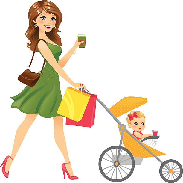 Mom Walking Baby In Stroller vector art illustration