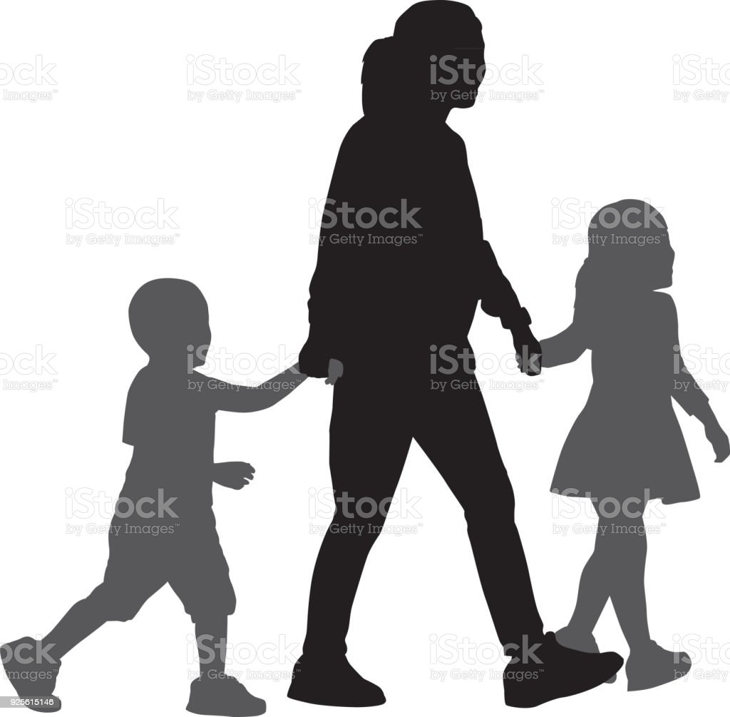 Mom Walking With Son And Daughter Silhouettes vector art illustration
