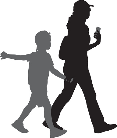 Mom Walking With Son Silhouette