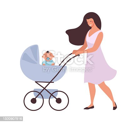 Mom walks with the baby in a stroller. The concept of motherhood, child care, active recreation of a woman with a newborn. Flat cartoon vector illustration isolated on white background.