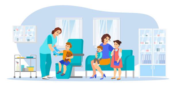 illustrations, cliparts, dessins animés et icônes de la maman avec des enfants fait des vaccinations, illustration de vecteur. soins de santé, prévention des infections, concept de vaccination familiale - vaccin enfant