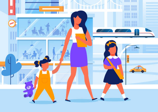 mom with children on walk flat vector illustration - adults only stock illustrations