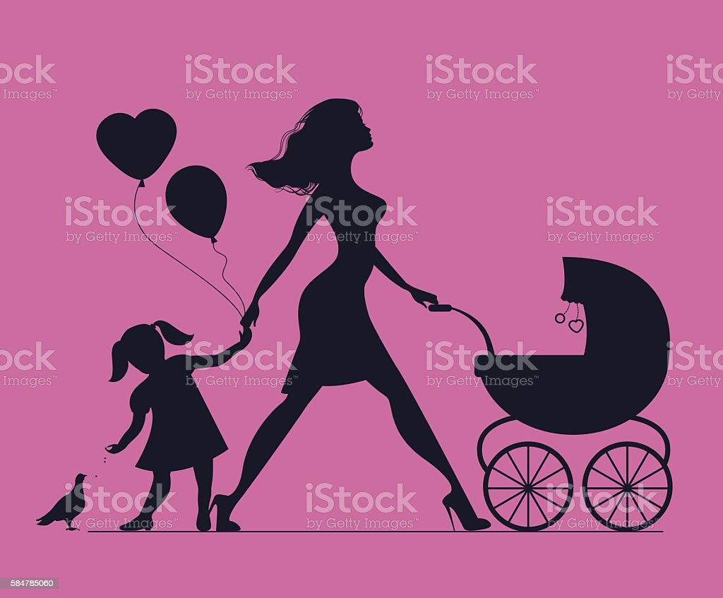 Mom with daughter and baby in baby carriage vector art illustration