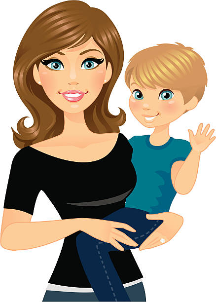 Mom with Son on Her Hip A beautiful mom holding her adorable son on her hip.  heyheydesigns stock illustrations