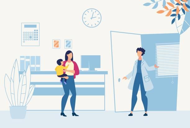 bildbanksillustrationer, clip art samt tecknat material och ikoner med mamma med son besök barnläkare för konsultation - allmänläkare