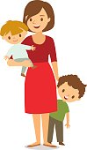 mom with two babies vector white background