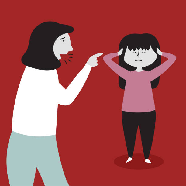 Mom yells at her daughter. The child does not listen, covers his ears with his hands. Child abuse Mom yells at her daughter. The child does not listen, covers his ears with his hands. Child abuse. Editable Vector Illustration infamous stock illustrations
