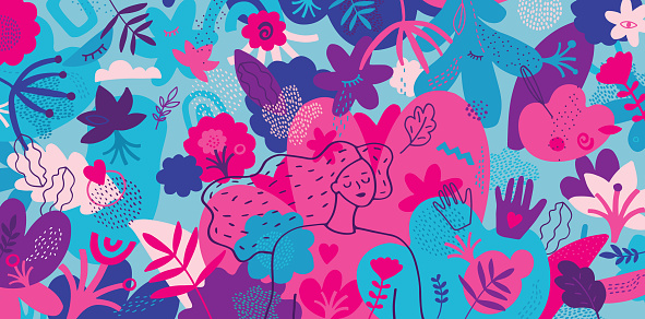 Vibrant hand drawn illustration depicting mindfulness concept.