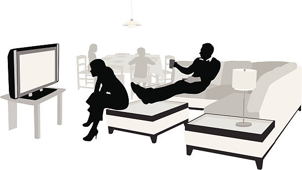 Momentary Vector Silhouette A-Digit family watching tv stock illustrations