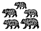 Momma, daddy, grampy, grammy, baby bear. Hand drawn typography phrases with bear silhouettes. Family collection. Vector illustration isolated on white background.