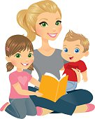 A beautiful mother, adorable son and pretty little daughter happily reading together.