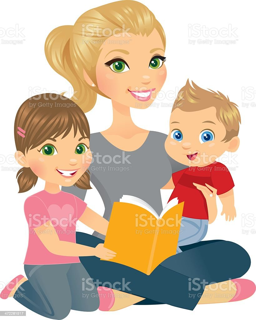 Mommy and Two Kids vector art illustration