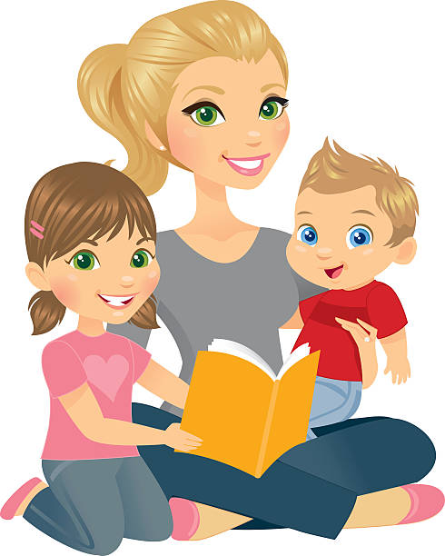 Mommy and Two Kids A beautiful mother, adorable son and pretty little daughter happily reading together. heyheydesigns stock illustrations