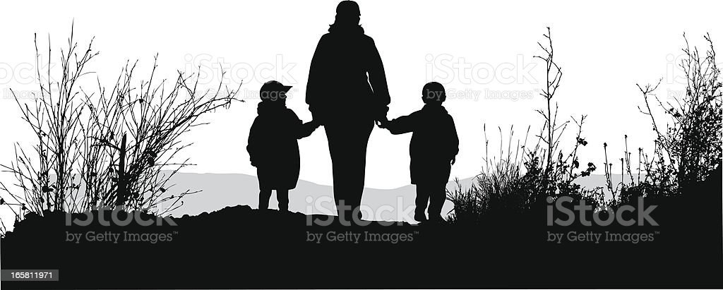 Mom'n Hiking Vector Silhouette royalty-free momn hiking vector silhouette stock vector art & more images of adult