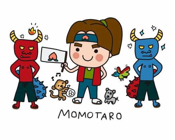 illustrazioni stock, clip art, cartoni animati e icone di tendenza di momotaro (japansese traditional tales) cartoon set doodle style vector illustration - pesche bambino